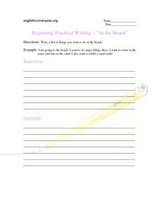 Beginning Question Response:  At the Beach Worksheet