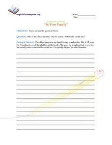 "Beginning Question Response-- ""In Your Family"" Worksheet"