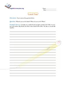 Beginning Question Response:  Lunch Worksheet