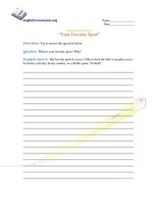 Beginning Question Response:  Your Favorite Sport Worksheet