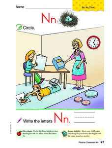 Beginning Sound and Printing Practice - Nn Worksheet