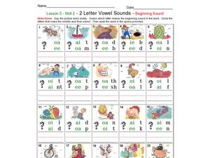 Beginning Sounds: 2 Letter Vowels Worksheet