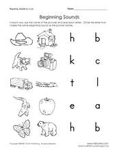 Beginning Sounds H, C, T, A, and B Worksheet