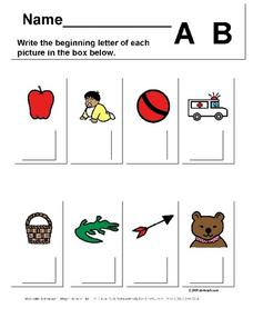 Beginning Sounds of A and B Worksheet