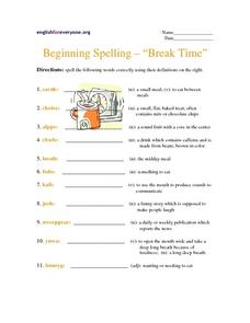 Beginning Spelling: Time to Eat Worksheet