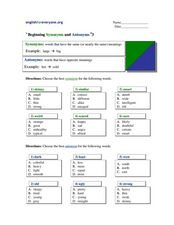 Beginning Synonyms and Antonyms #3 Worksheet