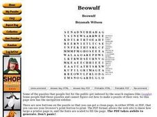 Beowulf: Word Search Worksheet