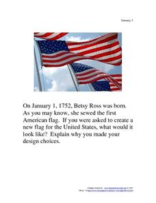 Betsy Ross: January 1, 1752 Worksheet