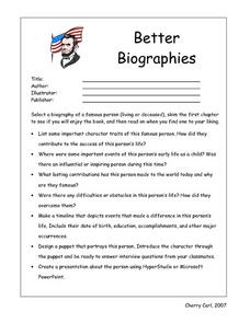 Better Biographies Book Reports Worksheet