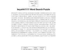 Beyahh!!!!!!! Measurement Word Search Puzzle Worksheet