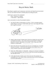 Bicycle Metric Math Worksheet