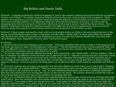 Big Bellies and Dandy Duffs Lesson Plan
