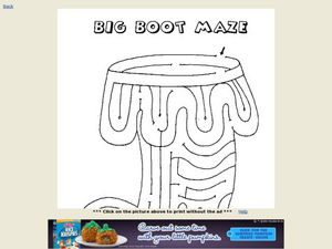 Big Boot Maze Worksheet