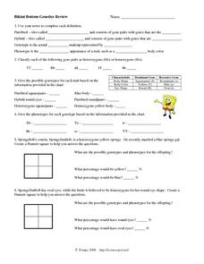 Bikini Bottom Genetics Review 9th - 12th Grade Worksheet | Lesson ...