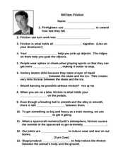 bill nye friction 3rd 4th grade worksheet lesson planet. Black Bedroom Furniture Sets. Home Design Ideas