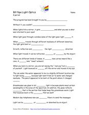 Bill Nye Light Optics 4th - 5th Grade Worksheet | Lesson Planet