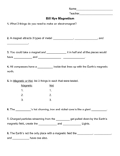 bill nye magnetism 4th 8th grade worksheet lesson planet. Black Bedroom Furniture Sets. Home Design Ideas