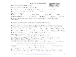Bill Nye Populations: Movie Worksheet 6th - 8th Grade Worksheet ...