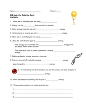 Worksheet Bill Nye The Science Guy Energy Worksheet bill nye the science guy energy 5th 6th grade worksheet worksheet