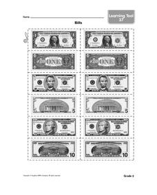 Bills-- Cards with Photographs of Paper Money Worksheet