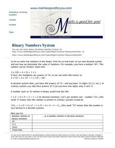 Binary Numbers System Worksheet