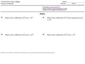 Worksheets Binomial Theorem Worksheet binomial expansion worksheet virallyapp printables worksheets 9th 12th grade lesson planet expansion