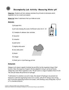 Biocomplexity Lab Activity: Measuring Water pH Lesson Plan