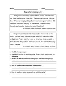 Biography/Autobiography Worksheet