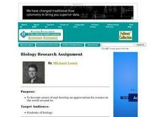Biology Research Assignment Lesson Plan