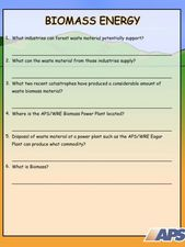 Biomass Energy Worksheet