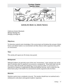 Biotic vs. Abiotic Factors 9th - 12th Grade Lesson Plan | Lesson ...