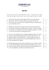 """Bird Flu"" Worksheet"