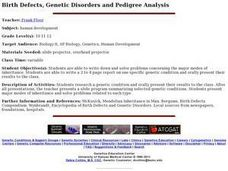 Birth Defects, Genetic Disorders and Pedigree Analysis Lesson Plan