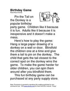 Birthday Game Worksheet