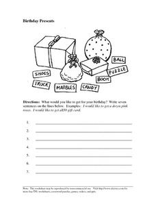 Birthday Presents: Writing Sentences Worksheet