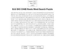 BJU BIO CH4B Roots Word Search Puzzle Worksheet