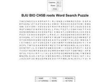 Bju Bio Ch5b Roots Word Search Puzzle Worksheet