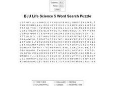 BJU Life Science 5 Word Search Worksheet
