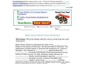 Black History Month Cloze worksheet Worksheet
