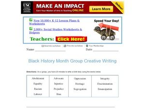 Black History Month Group Creative Writing Worksheet