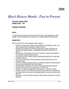 Black History Month - Past to Present, Grades 4-6 Lesson Plan