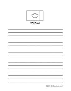Blank Lined Writing Paper: Canadian Maple Leaf Printables & Template