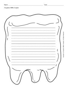 Blank Writing Lines in Tooth Shape Printables & Template