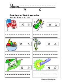 Blends: fl and fr Worksheet
