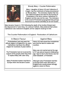 Bloody Mary – Counter Reformation Worksheet