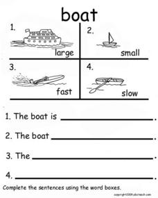 Boat Sentences Worksheet