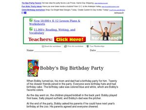 bobby 39 s big birthday party reading comprehension 2nd 3rd grade worksheet lesson planet. Black Bedroom Furniture Sets. Home Design Ideas