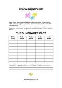 Bonfire Night Puzzle Worksheet