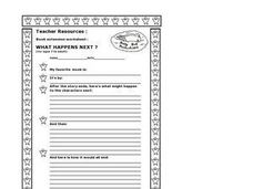 Book Extension - What Happens Next? Worksheet