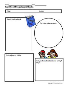 Book Report- Jokes And Riddles Worksheet